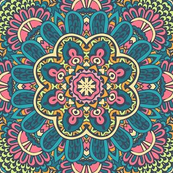 Festival indiano tribal brilhante arte de flores coloridas de mandala
