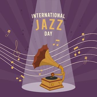 Festival internacional de gramofone do dia do jazz vintage