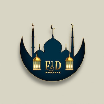Festival islâmico de eid mubarak deseja design de saudação