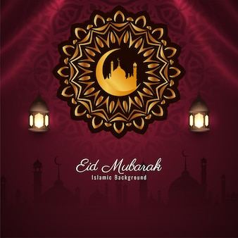 Festival islâmico eid mubarak fundo elegante