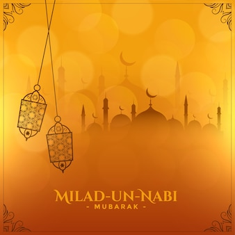 Festival islâmico milad un nabi deseja design de cartão