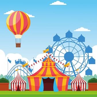 Festival justo com cenário de atrações divertido