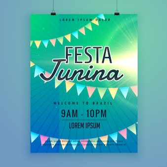 Festival latino americano festa junina festival cartaz modelo de folheto