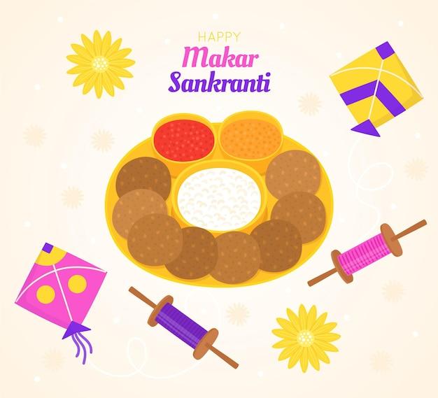 Festival makar sankranti desenhado à mão