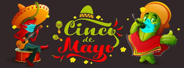 Festival mexicano de cinco de mayo durante a cobiça epidemia músicos pepper and cactus medical
