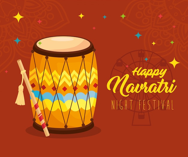 Festival noturno, pôster de celebração feliz navratri, com tambor
