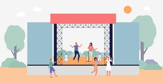 Festival, performance ou uma festa ao ar livre