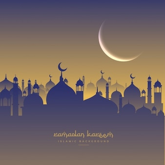 Festival ramadan islâmico com lua e masjid