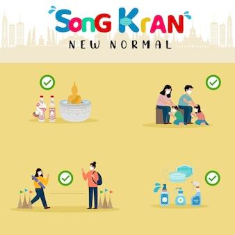 Festival songkran 2021 novo conceito normal salpique água em uma estátua de buda, despeje água nas mãos de venerados anciãos e peça bênção, distanciamento social e spray de álcool