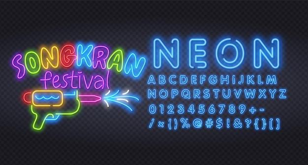 Festival songkran de ano novo tailandês, alfabeto neon