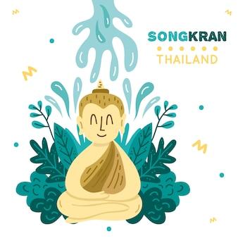 Festival songkran desenhado à mão