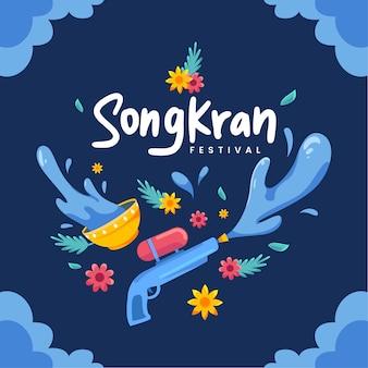 Festival songkran em design plano