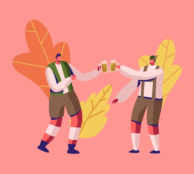 Festival tradicional da baviera oktoberfest. dois homens em trajes alemães trachten tilintando canecas cheias de cerveja de espuma durante a celebração do evento do fest. ilustração plana dos desenhos animados