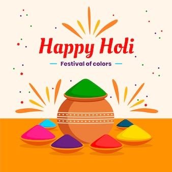 Festival tradicional de holi colorido