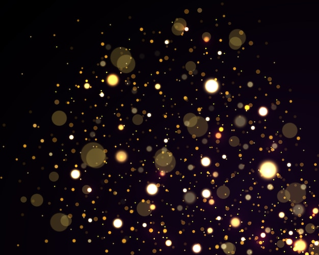 Festivo dourado luminoso com luzes coloridas bokeh
