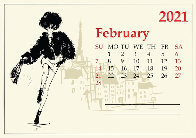 Fevereiro. calendário com menina da moda no estilo de desenho.