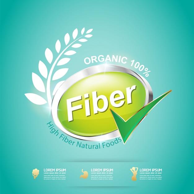 Fibra em rótulo de conceito de vetor verde alimentos orgânicos