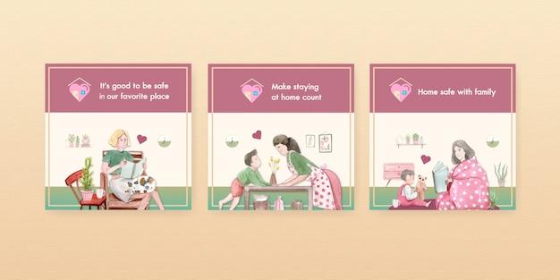 Ficar em casa anunciar o conceito com caráter de pessoas fazer atividade família ilustração aquarela design