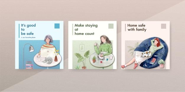 Ficar em casa anunciar o conceito com caráter de pessoas fazer atividade, relaxante, pesquisando design aquarela de ilustração de internet