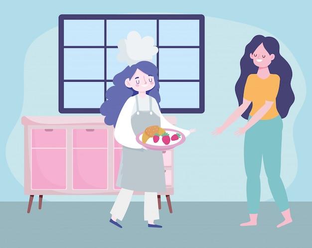 Ficar em casa, chef feminino com comida e menina dos desenhos animados, cozinhar
