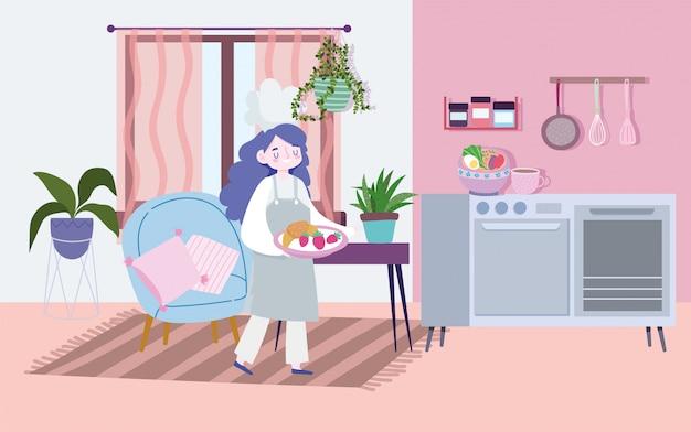 Ficar em casa, chef feminino com comida no prato, cozinhar atividades de quarentena