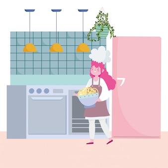 Ficar em casa, chef feminino com espaguete no desenho da cozinha, cozinhar atividades de quarentena