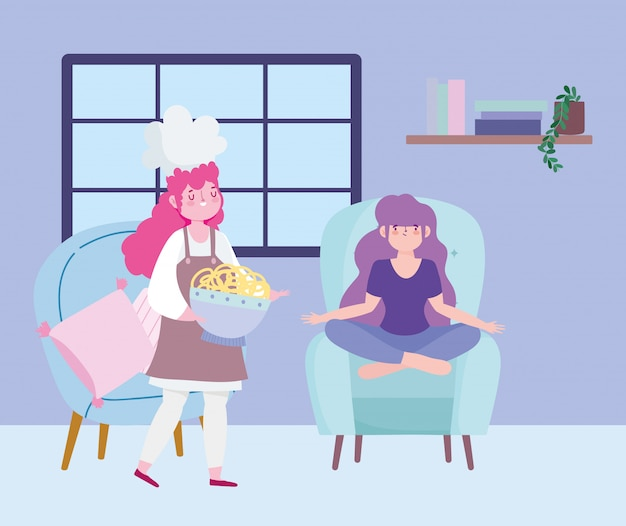 Ficar em casa, chef feminino com macarrão e garota sentada na cadeira dos desenhos animados, cozinhar