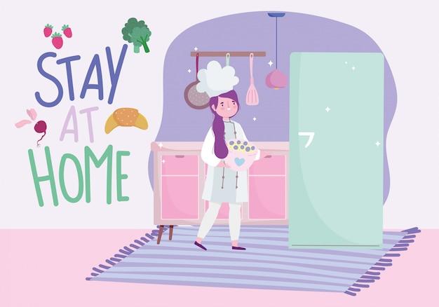 Ficar em casa, chef feminino com sobremesa de frutas na tigela, cozinhar atividades de quarentena
