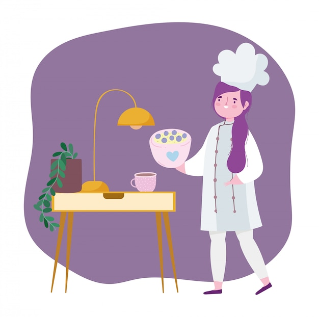 Ficar em casa, chef feminino com sobremesa em desenho animado de alimentos,