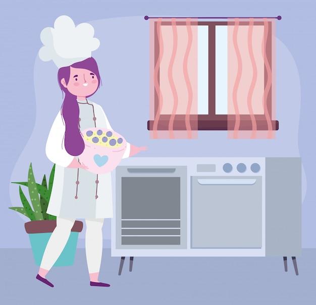 Ficar em casa, chef feminino com sobremesa no desenho de tigela, cozinhar