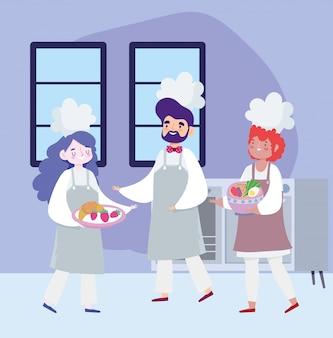 Ficar em casa, chef feminino e masculino com legumes e frutas na tigela dos desenhos animados, cozinhar