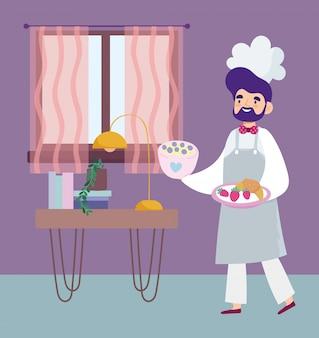 Ficar em casa, chef masculino com sobremesa e frutas no quarto cartoon, cozinhar