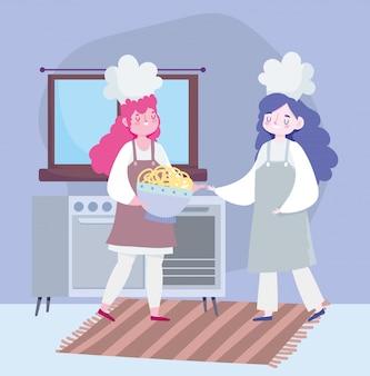 Ficar em casa, chef meninas com desenho de tigela de sobremesa
