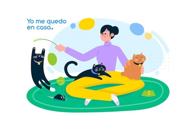 Ficar em casa conceito com animais