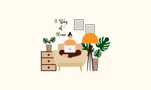 Ficar em casa conceito design plano ilustração