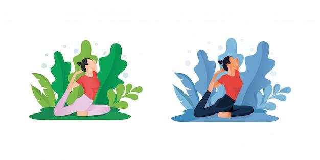 Ficar em casa conceito ou mulheres fazendo yoga