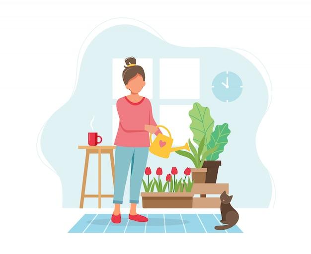 Ficar em casa conceito. plantas molhando de mulher no interior moderno acolhedor.
