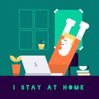 Ficar em casa conceito