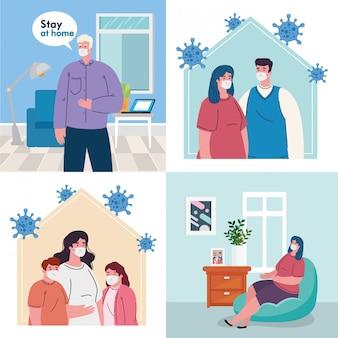 Ficar em casa, definir cenas de pessoas, quarentena ou auto-isolamento