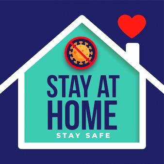 Ficar em casa e design de cartaz seguro