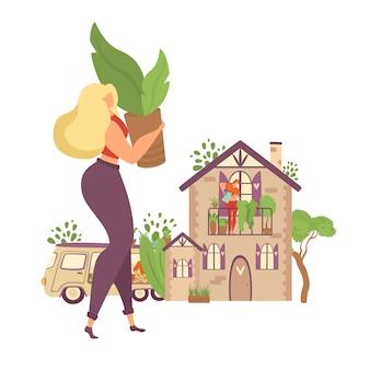 Ficar em casa e plantar hortaliças em casa ilustração isolada motivacional. mulher traz planta em vaso para casa decorada com hortaliças.