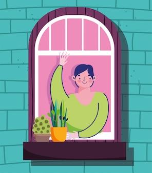 Ficar em casa em quarentena, jovem, olhando pela janela, construindo ilustração exterior