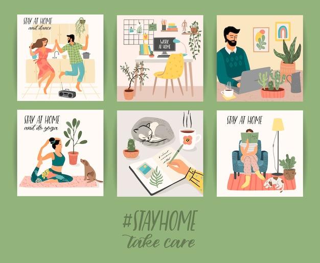 Ficar em casa. homens e mulheres jovens ficam em casa aconchegante. ilustração.