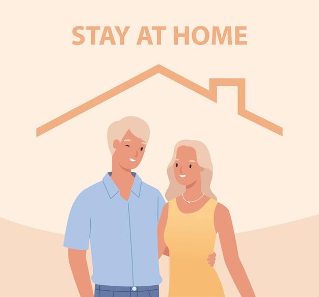 Ficar em casa. jovem casal dentro de casa. conceito para controlar a doença em 2019-ncov. ilustração em um estilo simples