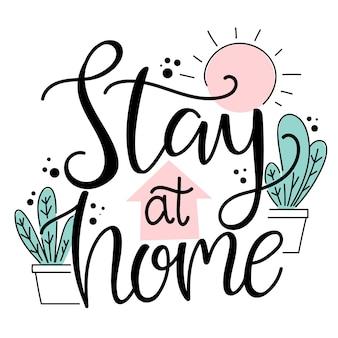 Ficar em casa lettering conceito