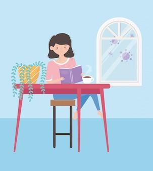 Ficar em casa, menina lendo livro na mesa com uma xícara de café e vasos de plantas