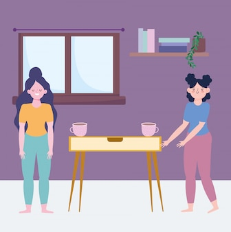 Ficar em casa, meninas com xícaras de café no quarto cartoon, cozinhar