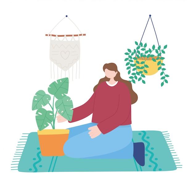 Ficar em casa, mulher com vasos de plantas de jardinagem
