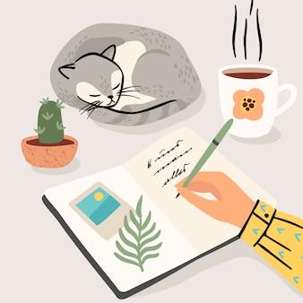Ficar em casa. mulher escreve um diário em casa. ilustração.
