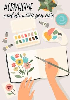Ficar em casa. mulher pinta flores no caderno. ilustração.